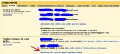 Outras contas no Gmail