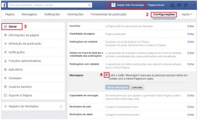 Ativar recebimento de mensagens na Fan Page do Facebook