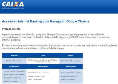 Internet Banking da Caixa não funciona no Google Chrome