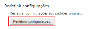 Redefinir configurações do Google Chrome
