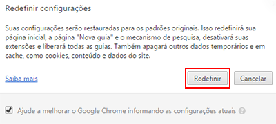 Google Chrome: zerando as configurações