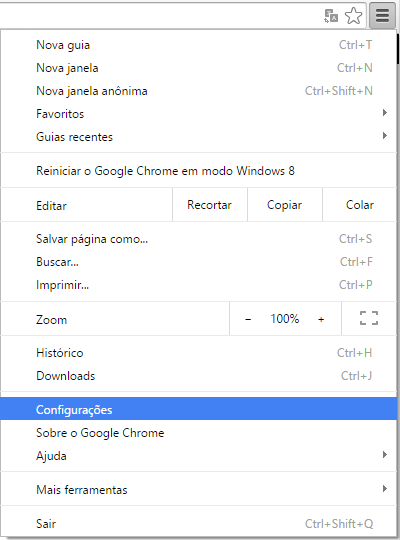 Restaurando as configurações do navegador Google Chrome
