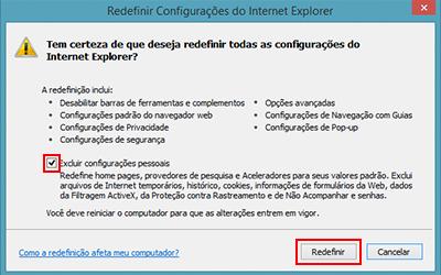 Zerando as configurações do Internet Explorer para ficar mais rápido