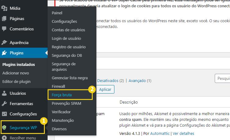 Configurando o plugin de segurança do WordPress